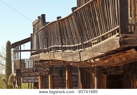 A Goldfield Ghost Town Collapsing Balcony, Arizona
