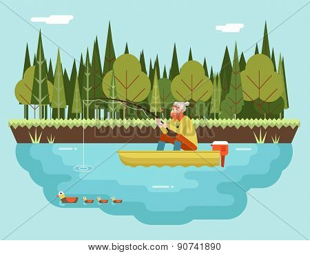 Fisherman with Fishing Rod in Boat Forest and Birds Background Concept Character Icon Flat Design La