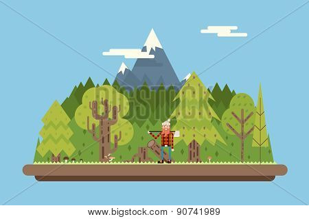 Lumberjack in wood under Mountain Concept Character Flat Design Landscape Background Template Vector