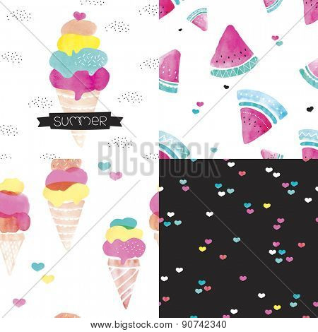 Seamless colorful kids water melon and ice cream cones illustration love summer background pattern set and summer ice cream postcard cover design in vector
