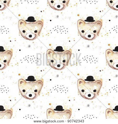 Seamless hipster bears kids water color illustration background pattern in soft pastel paint