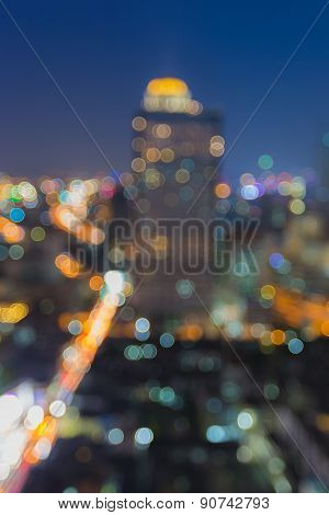 City blur bokeh night background