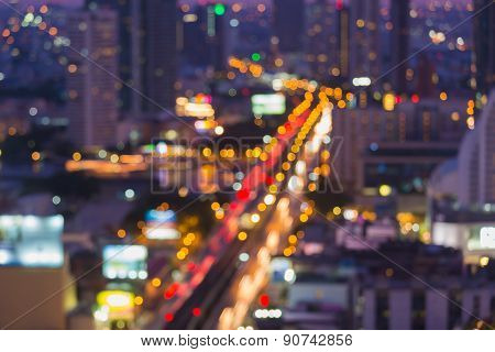 Out of focused Photo Bokeh, Bangkok cityscape at twilight time