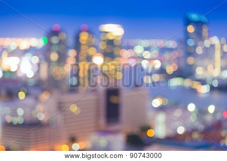Office building night lights blurred bokeh background