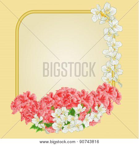 Golden Frame Pink Hibiscus And Jasmine Vector