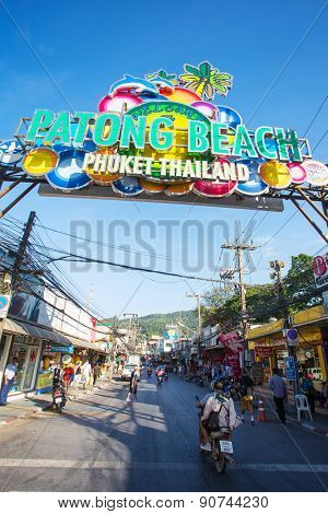 PHUKET, THAILAND - February 3, 2015: Patong Beach welcome sign.