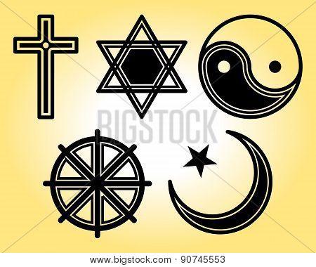 Religious symbols line icons set