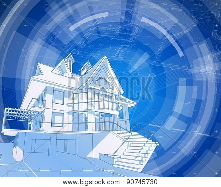 Architecture design: blueprint house, plan & blue technology radial background