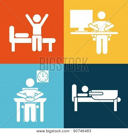 daily routine over colorful background vector illustration
