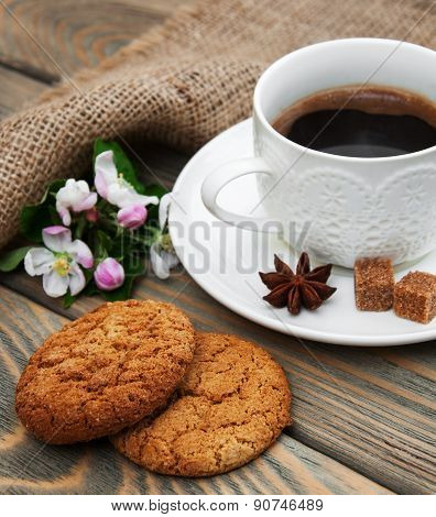 Cup Of Coffee And Oatmeal Cookies
