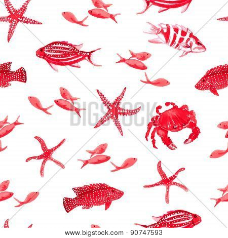 Red Sea Watercolor Seamless Vector Print