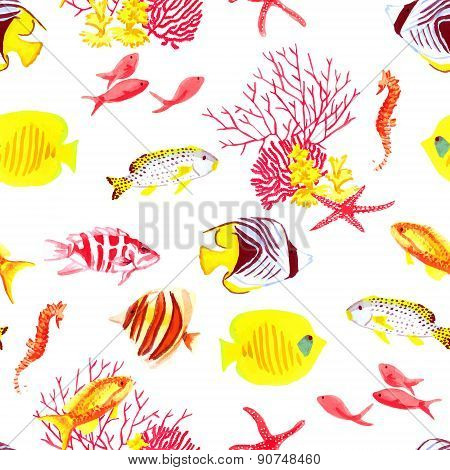 Bright Fishes And Algae Seamless Vector Pattern