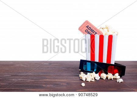 Popcorn Movie Tickets 3 D Glasses Side View Of Insulation