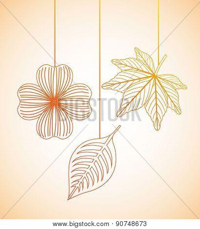 autumn flowers design over orange  background vector illustratio