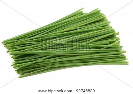 Bunch of freshly cut green chive on white background