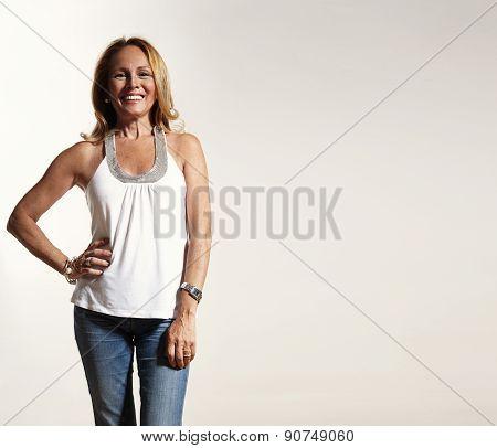Horisontal Portrait Of Smiling Senior Woman