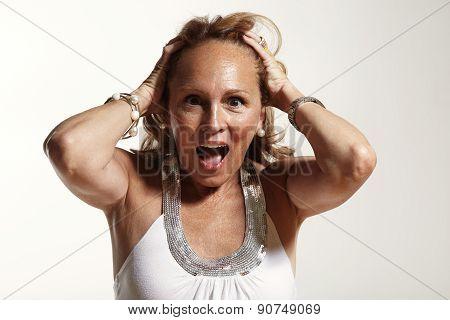 Screaming Senior Woman. Sceared, Screaming, Fear,