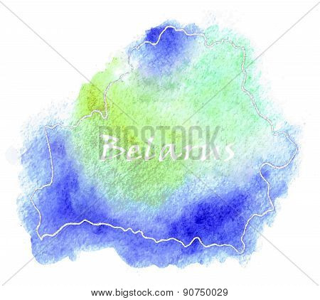 Belarus Vector Watercolor Map Illustration