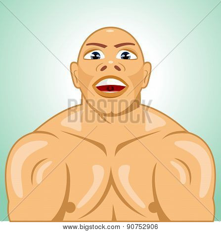 bald bodybuilder straining muscles