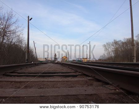 Railway going to the some houses
