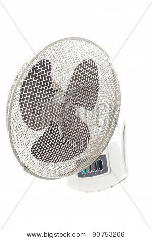 Electric fan on white background.