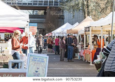 People Shopping At Portland Farmers Market