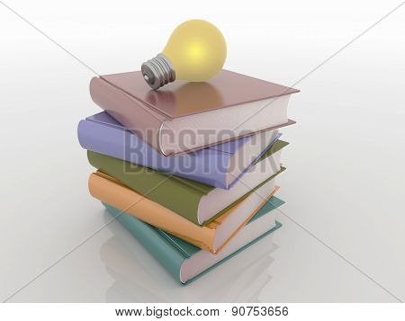 Light Bulb On Stack Of Books, Knowledge Solution Concept