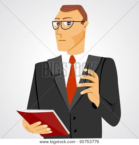 businessman with business diary and ball pen