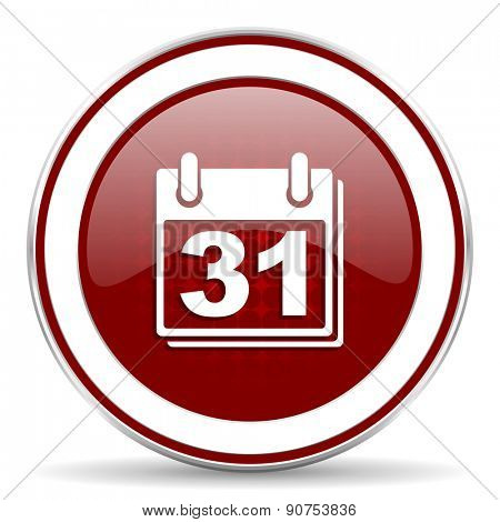 calendar red glossy web icon