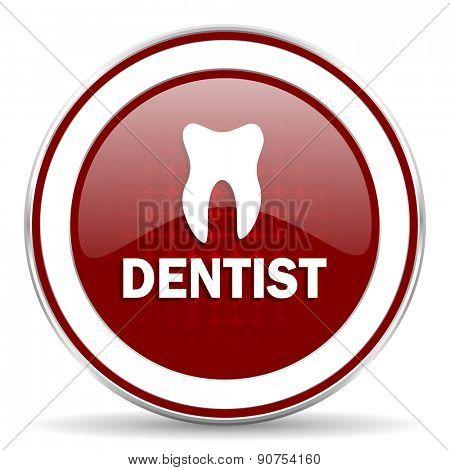 dentist red glossy web icon