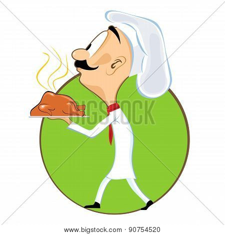 cartoon chef carrying tray with chicken