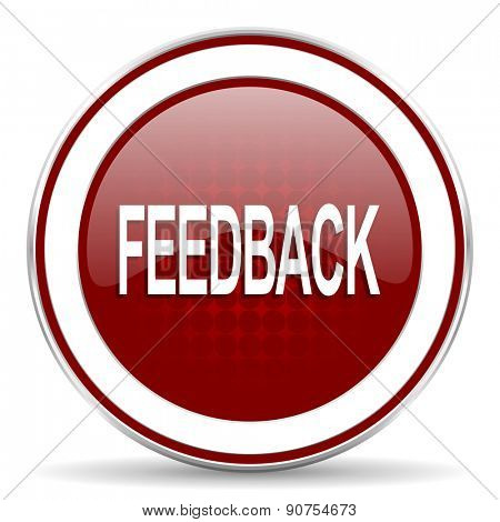 feedback red glossy web icon
