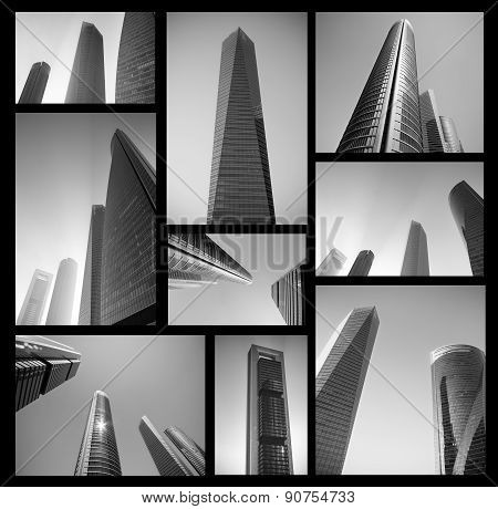 Collage of modern business center in black and white. Abstract Business concept. High resolution fil
