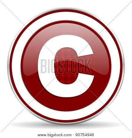 copyright red glossy web icon