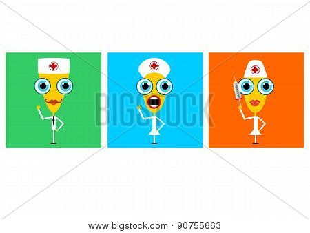 cartoon characters of doctor and nurses