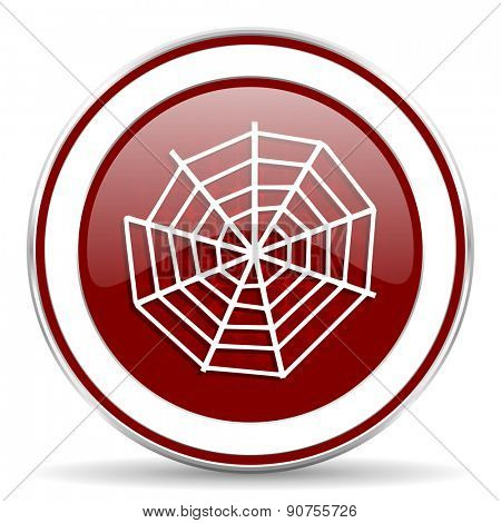 spider web red glossy web icon