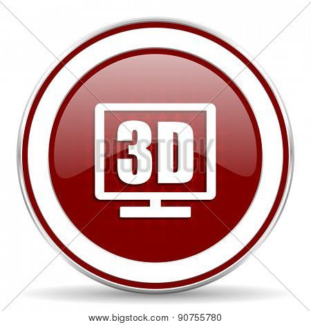 3d display red glossy web icon