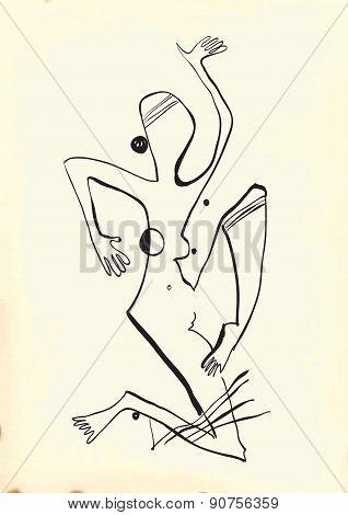 Art Of Line Art - Woman