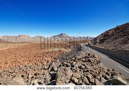 Volcanic landscape in Teide park Tenerife Canary Island Spain.