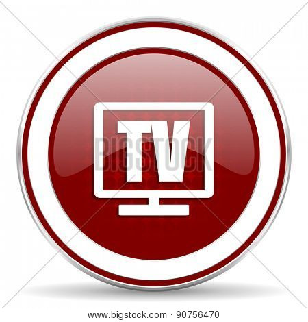 tv red glossy web icon