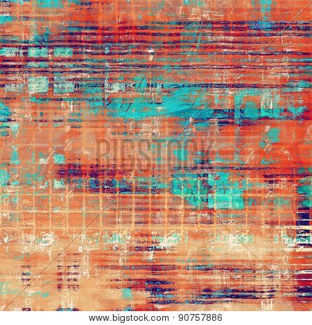Vintage old texture for background. With different color patterns: brown; blue; red (orange); cyan