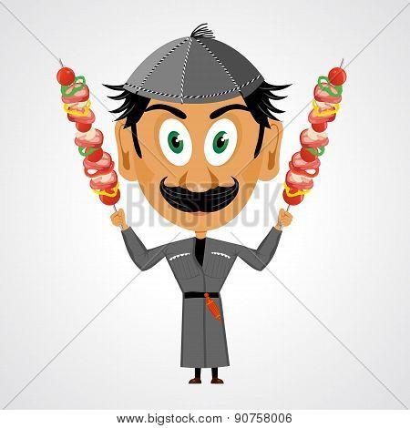 faunny cartoon georgian holding kebab