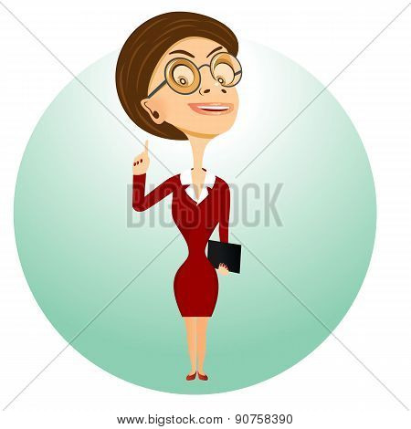 teacher with glasses holding folder