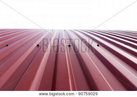 Rooftop Of Curved Red Corrugated Iron