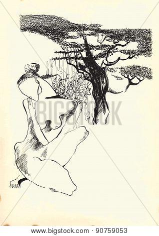 Art Of Line Art - Naked Woman