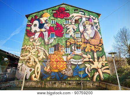 Colorful Painted houses of the Mural Itinerary on March 6 2015 in Vitoria Spain.
