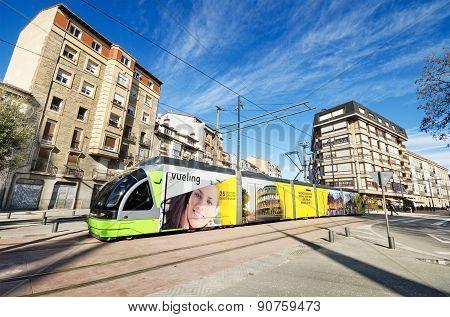 Modern Vitoria public transport on March 8 2015. Vitoria tram was inaugurated in 2008.