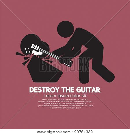 Man Destroy The Guitar Graphic Symbol.