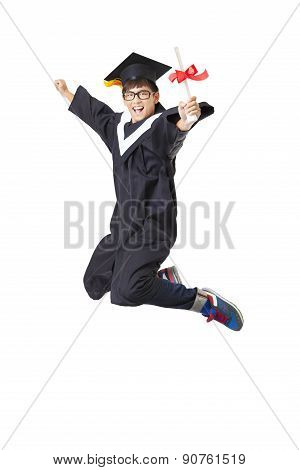 Happy  Student In Graduate Robe Jumping Against White Background