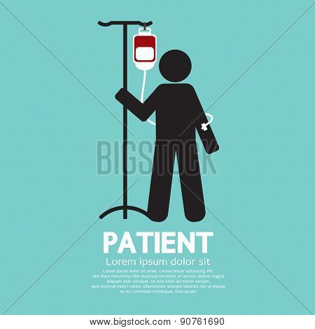 Patient With Saline Solution Graphic Symbol.